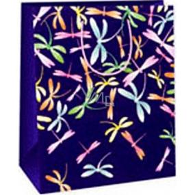 Ditipo Dárková papírová taška 26,4 x 13,7 x 32,4 cm fialová barevné vážky