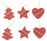 Pletené dekorace červené na zavěšení 6 kusů v sáčku