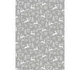 Ditipo Dárkový balicí papír 70 x 200 cm Vánoční stříbrný jeleni stromky vločky
