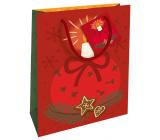 Nekupto Dárková papírová taška 23 x 18 x 10 cm Vánoční červená se svíčkou WBM 1932 30