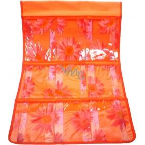Kapsář do koupelny závěsný 705 oranžový 59 x 35,5 cm 9 kapes