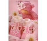 Nekupto Dárková papírová taška 32,5 x 26 x 13 cm Růžový medvídek 1 kus 1093 30 KFL