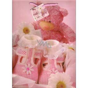 Nekupto Dárková papírová taška velká 32,5 x 26 x 13 cm růžový medvídek 1 kus 1093 30 KFL