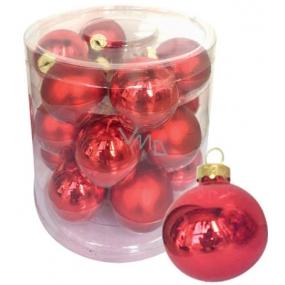 Sada skleněných baněk červených 4 cm 18 kusů