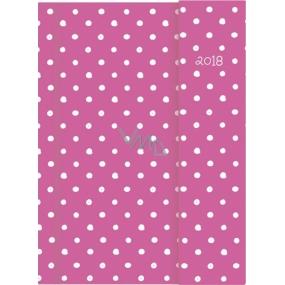 Albi Diář 2018 s magnetem Růžový s puntíky 13 cm × 18 cm × 1 cm