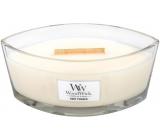 WoodWick Baby Powder - Dětský pudr vonná svíčka s dřevěným širokým knotem a víčkem sklo loď 453 g