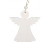Anděl dřevěný závěsný bílý 9 cm 2 kusy