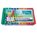 Clanax Kolíčky na prádlo plastové barevné 36 kusů