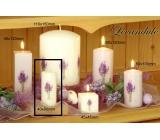 Lima Květina Levandule vonná svíčka bílá s obtiskem levandule válec 50 x 100 mm 1 kus