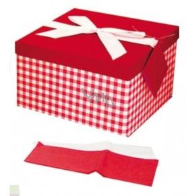 Dárková krabička skládací s mašlí celoroční červená-kostka L 22 x 22 x 13 cm