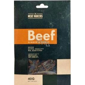 Meat Makers Beef Jerky Ginger & Honey dochucené tenké plátky z hovězí kýty konzervované sušením 40 g