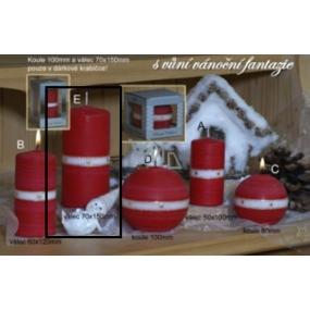 Lima Aura Vánoční fantazie vonná svíčka červená válec 70 x 150 mm 1 kus