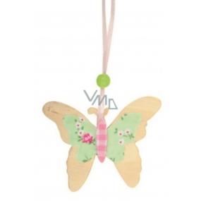 Motýl ze dřeva květinkový dekor zeleno-růžový 7 cm