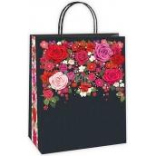 Ditipo Dárková papírová taška černá, červené květy 18 x 8 x 24 cm EKO 50