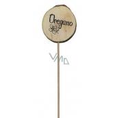 Bohemia Gifts & Cosmetics Dřevěný zápich k bylinkám s potiskem - Oregano průměr kolečka je 5 - 8 cm