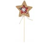 Hvězda jutová zápich 9 cm + špejle