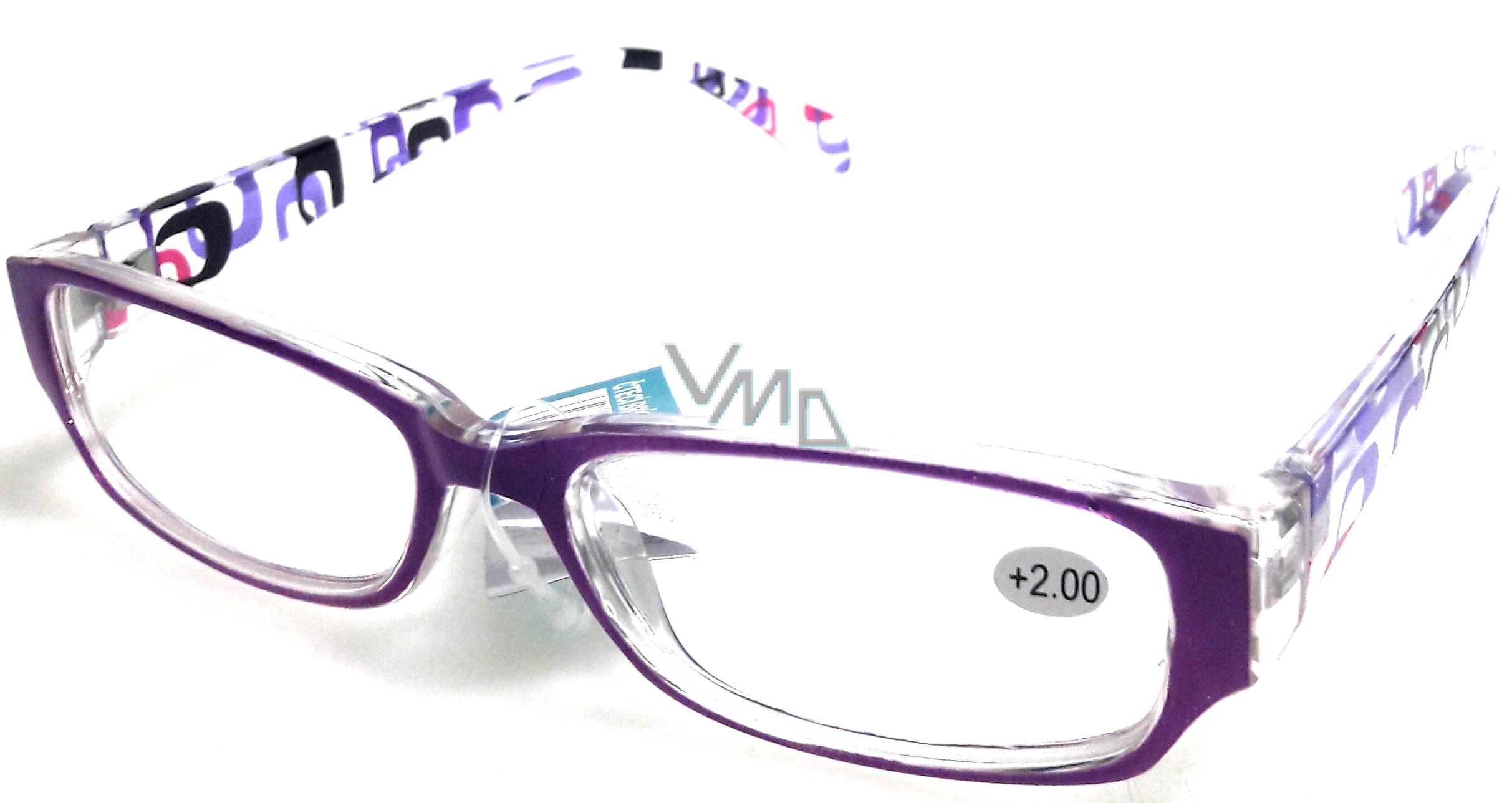 ad9c40215 Berkeley Čtecí dioptrické brýle +2,0 plast fialové stranice s obdelníky 1  kus MC2084