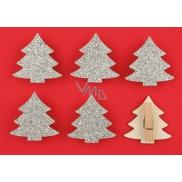 Dřevěné stříbrné stromy s glitry na kolíčku 4,5 cm, 6 kusů