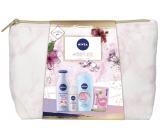 Nivea Pink Power tělové mléko 200 ml + sprchový gel 250 ml + antiperspirant deodorant roll-on 50 ml + Labello balzám na rty 4,8 g + etue, kosmetická sada pro ženy