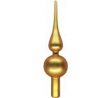 Skleněná špice na strom matná zlatá 24 cm