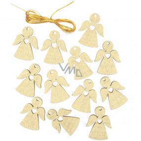 Anděl dřevěný závěsný zlatý 3 cm 12 kusů