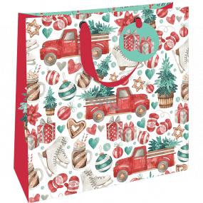 Nekupto Dárková papírová taška luxusní 33 x 33 cm Vánoční auto se stromkem WLIL 1978