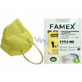 Famex Respirátor ústní ochranný 5-vrstvý FFP2 obličejová maska žlutá 10 kusů