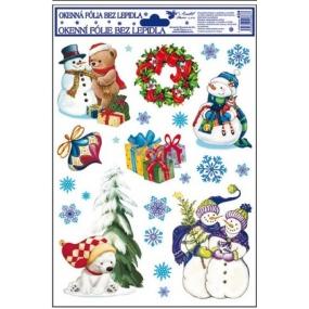 Okenní fólie bez lepidla barevná s ledními medvědy, sněhulákem a medvědem hnědým 30 x 20 cm