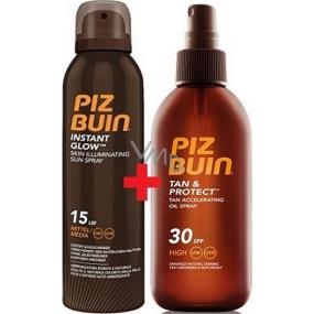 Piz Buin Instant Glow SPF15 rozjasňující sprej na opalování s okamžitým zářivým efektem 150 ml + Piz Buin Tan & Protect Tan Accelerating Oil Spray SPF30 ochranný olej 150 ml, duopack