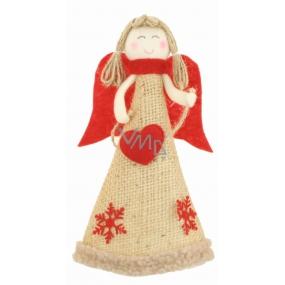 Anděl jutový na postavení 19 cm, s červenými křídly srdce