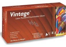 Aurelia Vitage jednorázové latexové rukavice s pudrem velikost L box 100 kusů