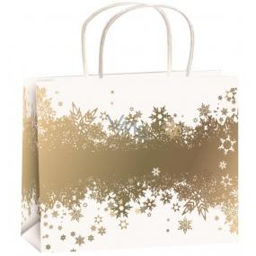 Anděl Dárková papírová taška 23 x 18 x 10 cm bílá-zlatý pás vloček M horizon