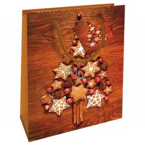 Nekupto Gift paper bag 23 x 18 x 10 cm Christmas brown gingerbread tree WBM