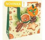Nekupto Dárková papírová taška luxusní 18 x 16 cm Pomeranč, skořice, perníčky, šiška Vánoční WLIS