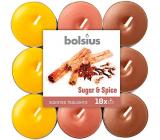 Bolsius Aromatic Sugar & Spice - Cukr a koření vonné čajové svíčky 18 kusů, doba hoření 4 hodiny