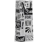 Nekupto Dárková papírová taška na láhev 10 x 33 x 9 cm Černo-bílá s písmeny 1895 02 KFLH