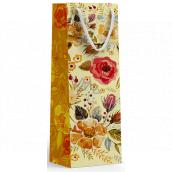 Nekupto Dárková papírová taška na láhev 10 x 33 x 9 cm Květiny 1897 01 KFLH