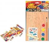 Dřevěné puzzle dopravní prostředky Formule 20 x 15 cm