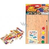 Puzzle dřevěné dopravní prostředky Formule 20 x 15 cm