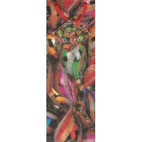 Alvarak Dárková papírová taška na láhev 33 x 10,5 x 9 cm barevné baňky 1 kus
