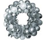 Věnec stříbrné baňky 28 cm