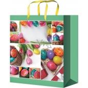 Anděl Taška velikonoční dárková M Vajíčka a tulipány 23 x 18 x 10 cm