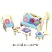Mini Dream Home Dřevěné puzzle nábytek snů 01 sedací souprava 20 x 15 cm