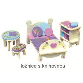 Mini Dream Home Dřevěné puzzle nábytek snů 05 ložnice s knihovnou 20 x 15 cm