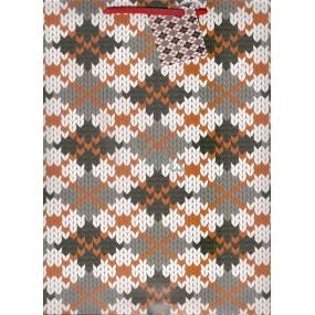 Nekupto Dárková papírová taška velká 32,5 x 26 x 13 cm pletený vzor 1097 02 KFL