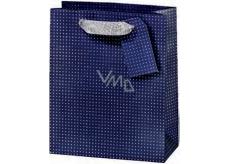 BSB Dárková papírová taška velká 36 x 26 x 14 cm Tmavě modrá s puntíky LDT 374-A4