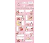 Arch Vánoční etikety samolepky Medvídci růžové arch 12 etiket