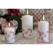 Lima Motiv Růže s plameňákem svíčka bílá válec 50 x 100 mm 1 kus