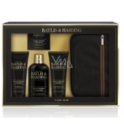 Baylis & Harding Černý pepř a Ženšen 2v1 šampon a sprchový gel 300 ml + toaletní mýdlo 150 g + balzám po holení 130 ml + sprchový gel 130 ml + toaletní taška, kosmetická sada pro muže