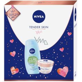 Nivea Tender Skin Zázvor & Bazalka sprchový gel s jílem pro ženy 250 ml + Cherry blossom & Jojoba Oil tělové suflé s olejem 200 ml, kosmetická sada
